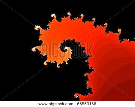 Red fractal spiral on a black background