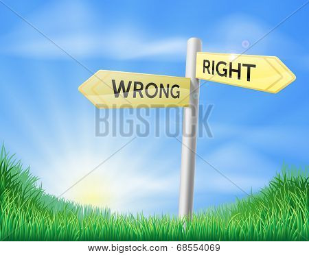 Right Or Wrong Decision Sign