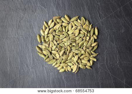Cardamom Seeds On A Slate Plate Close Up