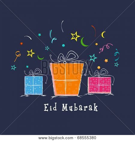 Muslim community festival Eid Mubarak celebrations greeting card design with colorful gift boxes on blue background.