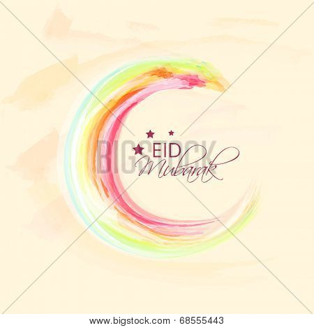 Colorful crescent moon on beige background on occasion of Muslim community festival Eid Mubarak celebrations.
