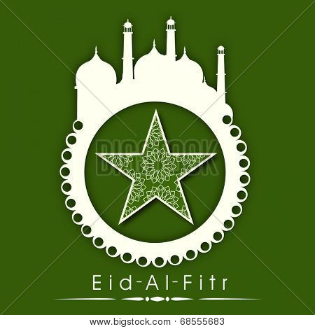 Stylish sticky in mosque shape with floral decorated star on green background for Muslim community festival Eid-Al-Fitr.