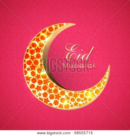 Beautiful red stars decorated golden crescent moon on red background for muslim community festival Eid Mubarak celebrations.