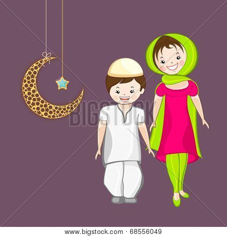 Religious muslim girl and boy holding hands each other with hanging moon and star on purple background for Eid Mubarak celebrations.
