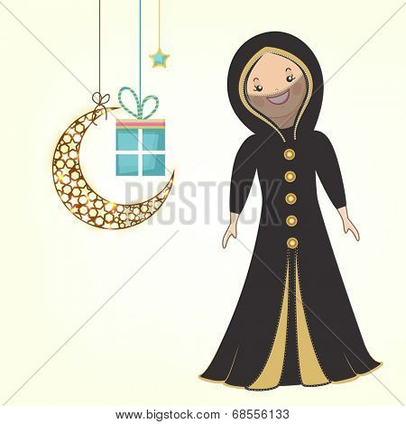 Cute religious muslim girl in traditional islamic outfits with hanging moon and gift box on beige background for muslim community festival Eid Mubarak celebrations.