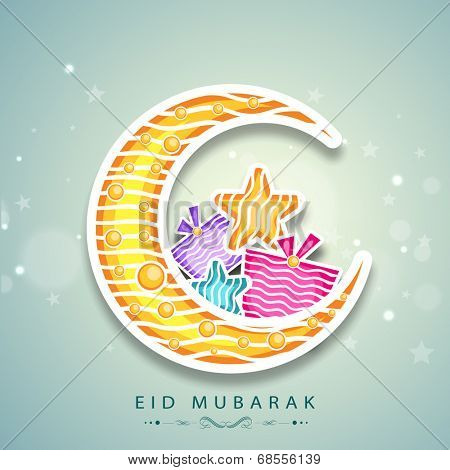 Muslim community festival Eid Mubarak celebrations with crescent moon, colorful stars and gift box on shiny green background.