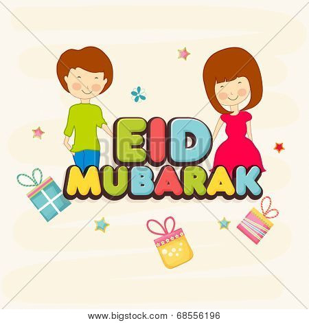 Muslim community festival Eid Mubarak celebrations greeting card design with colorful text and cute kids on gift boxes decorated background.