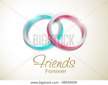 Shiny colorful wristband on brown background for Happy Friendship Day celebrations.