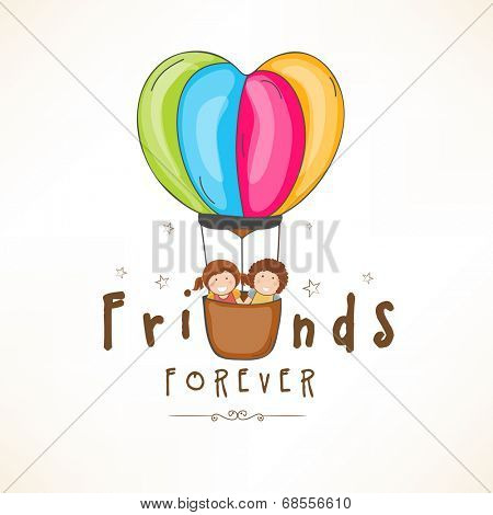 Happy Friendship Day celebrations concept with cute friends in a hot air balloons on shiny brown background.