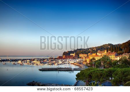 Santa Margherita Ligure on the Italian Riviera.  Sunset view.