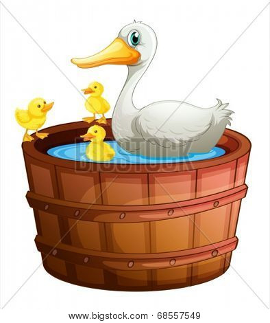 Illustration of a bathtub with ducks on a white background