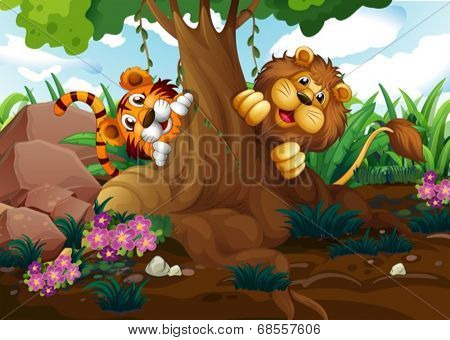 Illustration of a tiger and a lion playing at the forest