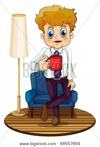 Illustration of a man holding a red mug on a white background