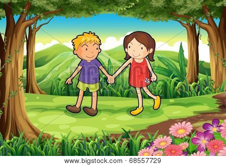 Illustration of a girl and a boy at the forest