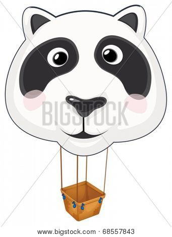 Illustration of a big panda balloon on a white background