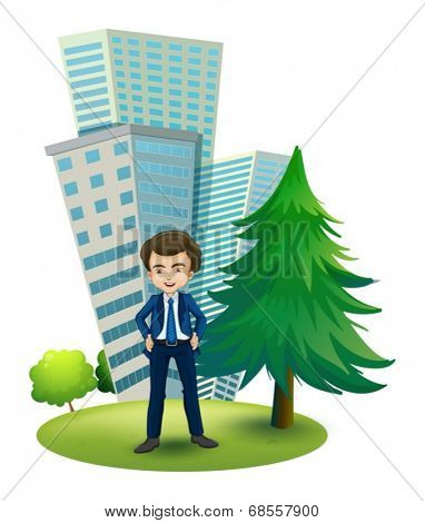 Illustration of a businessman outside the office on a white background