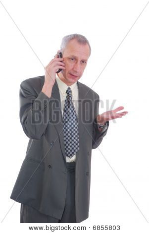 Business man and cell phone
