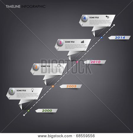 Time line info graphic white folded paper template