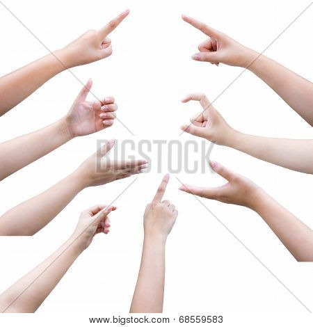 isolated female hand touching or pointing to something with clipping path