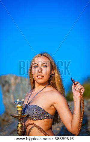 Portrait Of The Girl In Bikini With Hookah