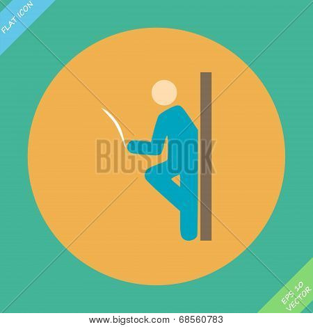 Pictogram of a man reading the newspaper leaning