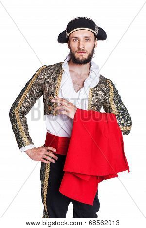 Man dressed as Spanish bull fighter