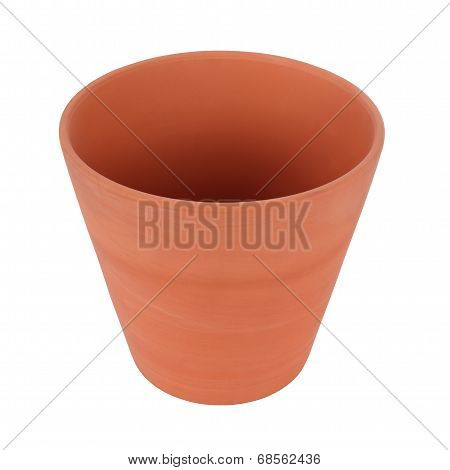 Top side of clay pot on white background.