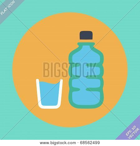 Set of water bottle and amp - vector illustration