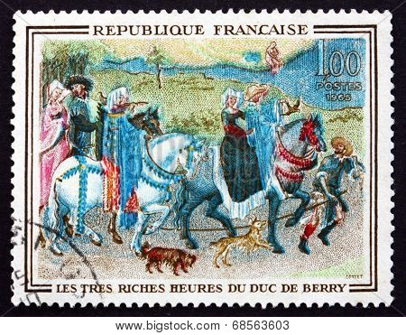 Postage Stamp France 1965 Leaving For The Hunt, Miniature
