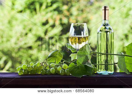 Grape And White Wine In Vineyard