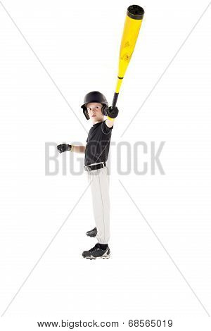 Young Boy Baseball Player Showing Off With His Bat Extended
