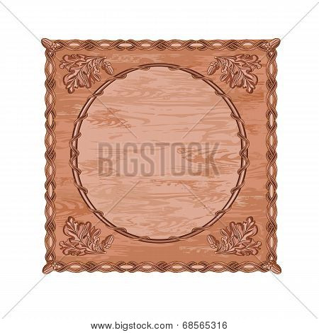 Decorative Frame Oak Woodcarving Hunting Theme Vector