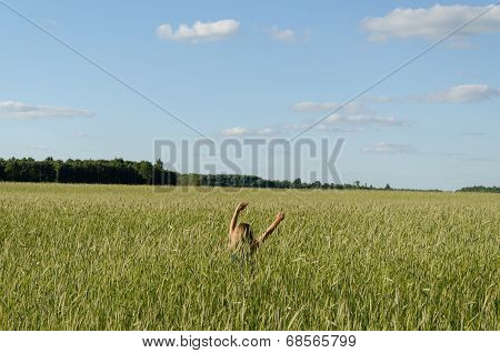 Farmer Woman Girl Swing With Cereal Wheat Plants