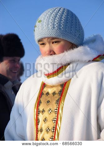 Nadym, Russia - March 2, 2007: Unknown Woman - Nenets Woman, Closeup, On The Street.