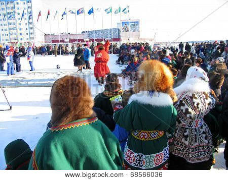 Nadym, Russia - March 2, 2007: The National Holiday, The Day Of The Reindeer Herder.