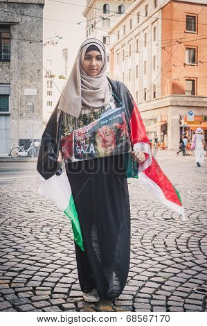 Girl Protesting Against Gaza Strip Bombing In Milan, Italy