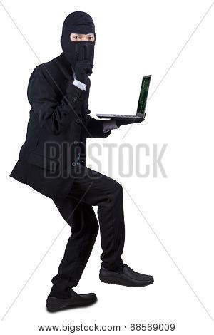 Businessman Wearing Mask Stole Laptop