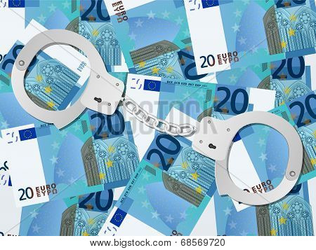 Handcuffs On Twenty Euro Background