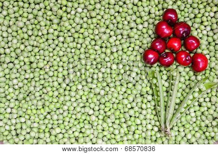 Cherries And Peas Background