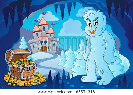 Winter cave with yeti - eps10 vector illustration.