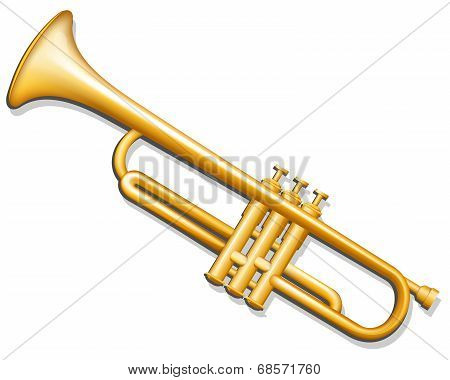 Trumpet. Brass Wind Musical Instrument
