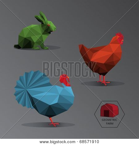 Colour Full Geometric Illustration Of Small Farm Animals - Triangle Polygons