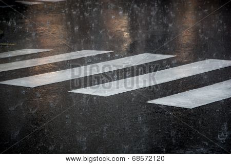 Pedestrian Crossing During The Big Rainstorm
