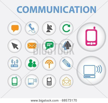 communication, connection, computer, mobile icons, signs, symbols set, vector