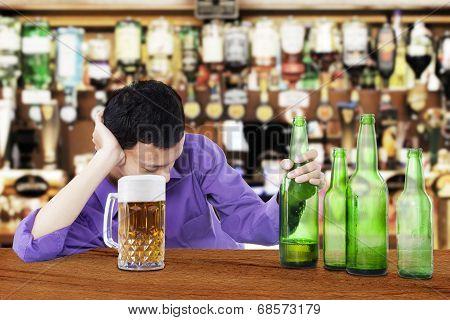 Drunk Man Holding Beer