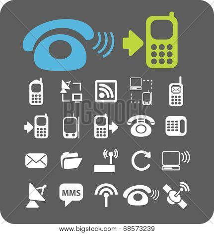 phone, smartphone, call, customer service icons, signs, symbols set, vector