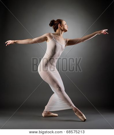 Image of curvy ballerina posing in erotic negligee