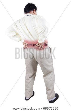 Fat Man Having Backache 1