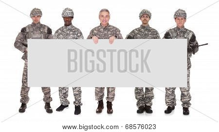 Group Of Soldier With Placard