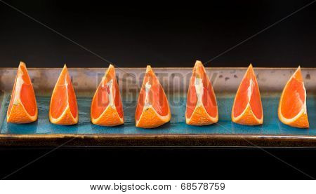 Slices Of  The Cara Cara Oranges With Its Pinkish Red Color Interior.